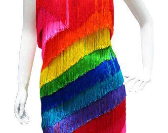 Vestido vestido - arco iris - franja de flecos, vestido de flecos Latino, latino vestido, vestido de baile latino, vestido de baile latino, latine de bata