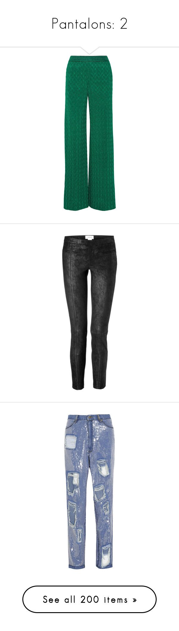 """""""Pantalons: 2"""" by laurie-2109 ❤ liked on Polyvore featuring pants, missoni, green, green trousers, metallic trousers, loose pants, green pants, wide-leg pants, helmut lang and stretch pants"""