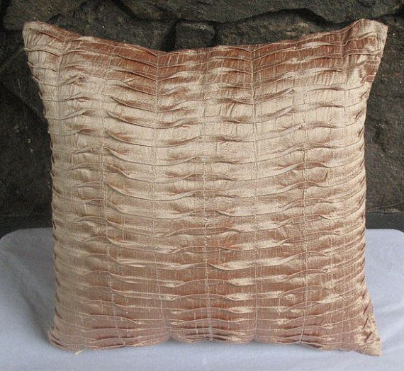 STOCK CLEARANCE 20% OFF-Light brown sand pleated throw pillow cover 16 inch light brown cushion cover-1in stock