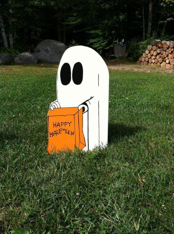 Ghost yard art, Halloween yard art, Halloween decorations, wood yard