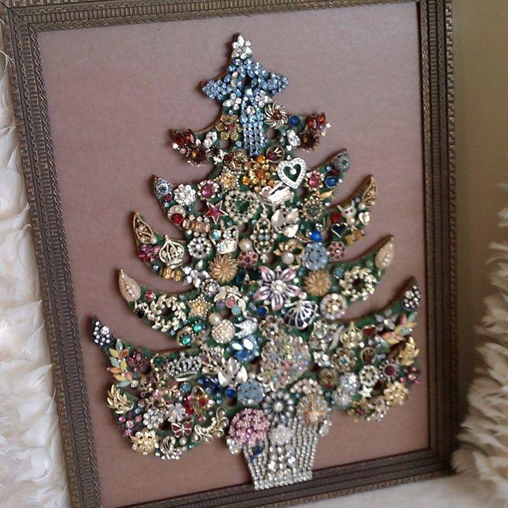 vintage costume jewlery for christmas tree | ON SALE Vintage Costume Jewelry Christmas Tree Art. $72.25, ... | Jew ...