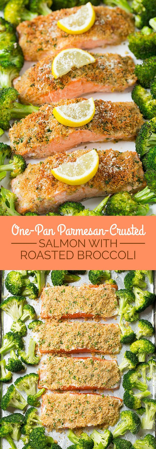 One-Pan Parmesan-Crusted Salmon with Roasted Broccoli | Here's What You Should Eat For Dinner This Week