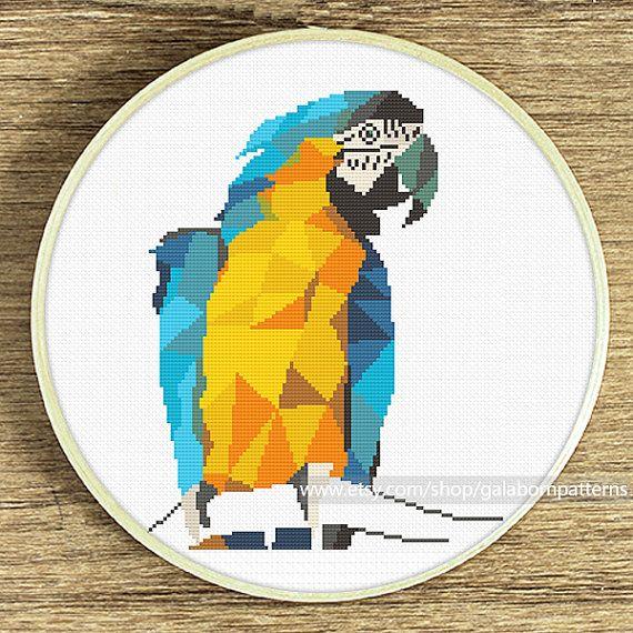 Macaw cross stitch, Geometric cross stitch pattern, Modern cross stitch, xstitch pattern, Animals birds cross stitch