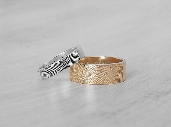 20% OFF. APPLY CODE GP20FINGERPRINTS  ACTUAL FINGERPRINT BAND RINGS (listed price is for one ring) This ring can be personalized with actual fingerprint and actual handwriting or text in font.  -------- ENGRAVING ------- (please read below for what can be engraved for each STYLE. select the STYLE you want from drop down menu on the right)  STYLE 1.4: Band 4mm; Outside: 1 fingerprint; Inside: 1-4 words (this can be reversed, fingerprint on the inside and text on the outside)  STYLE 1.7: Band…