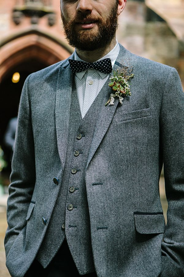 Bohemian Outdoor Tipi Wedding Tweed Bow Tie Groom Beard  http://www.sarahjanesphotography.co.uk/