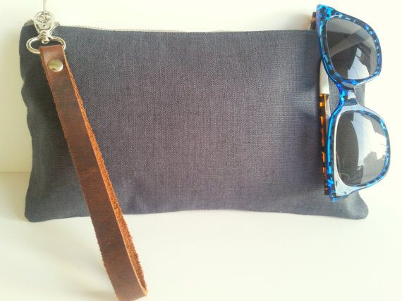 Dark Grey natural linen purse with leather wrist by LadybagShop, €28.00