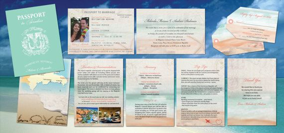 Destination Passport Wedding Invitations // Teal with Coral & Peach //  Luggage Tag Reply Cards