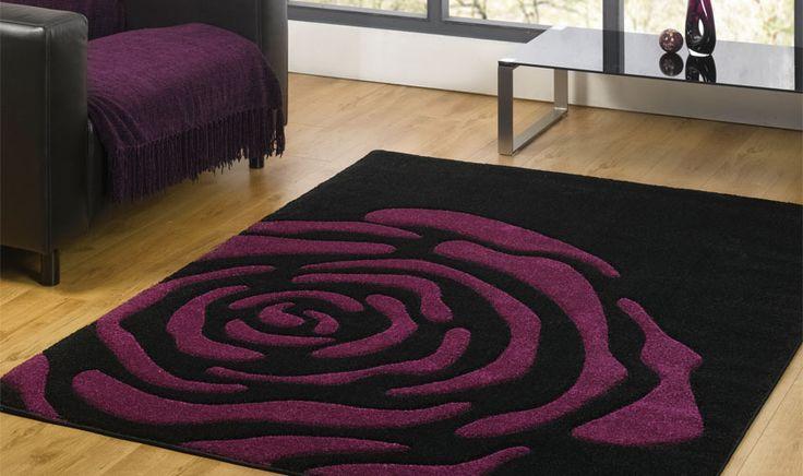Alfombra , a pelo corto, morado y negro, es perfecto para el dormitorio, para la combinación de colores.