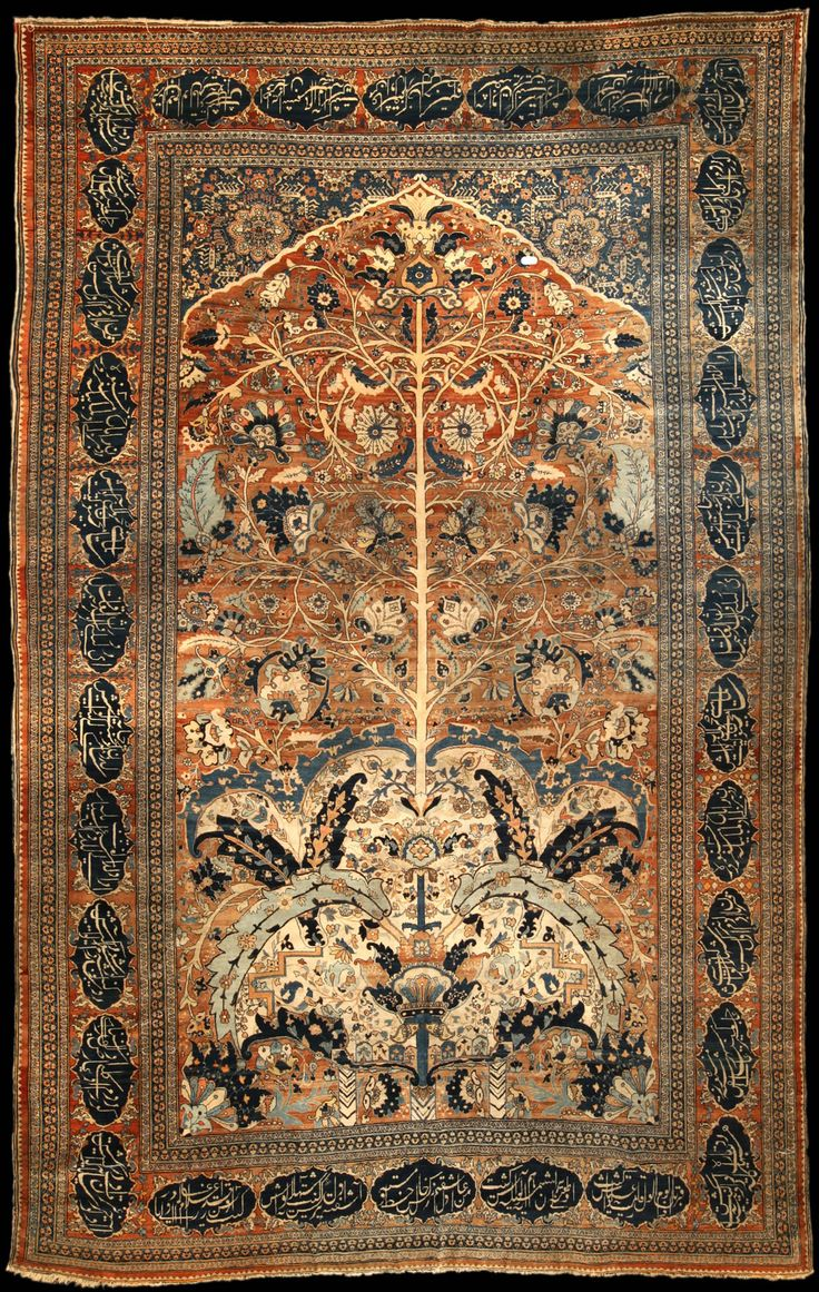 Persian Tabriz rug, highly-stylized, late 19th century