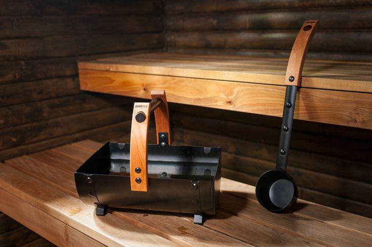 Legend bucket and ladle are designed for Legend sauna interiors. Wooden handels won't heat up in the warmth of sauna. #HarviaLegend #Legend #saunaaccessories #Legendaccessories