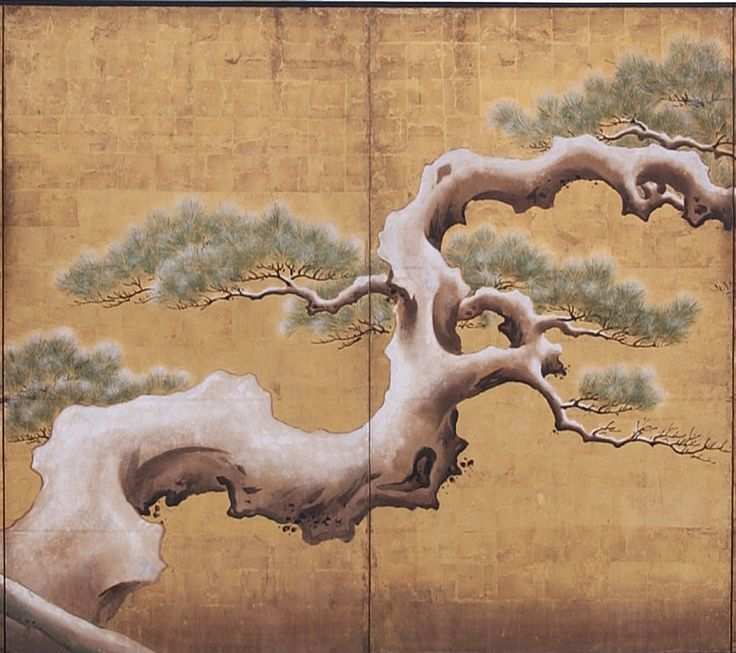 Exceptionally Large Japanese Screen with Pine Tree & Peonies