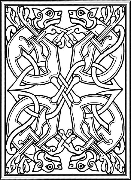 celtic coloring pages celtic knotwork with stylized dogs from wikipedia commons