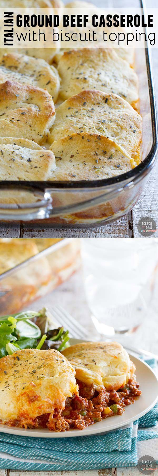 Hearty, filling, and family-friendly, this Italian Ground Beef Casserole with Biscuit Topping is the perfect answer for an easy weeknight dinner.: