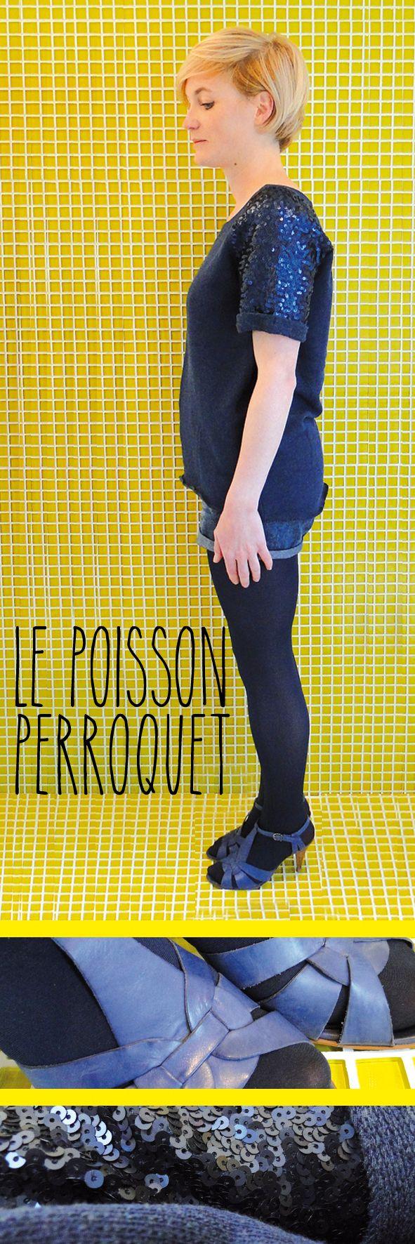 LE POISSON PERROQUET BLEU - Top H&M, Short Naf Naf, Collants Zara, Sandales Minelli