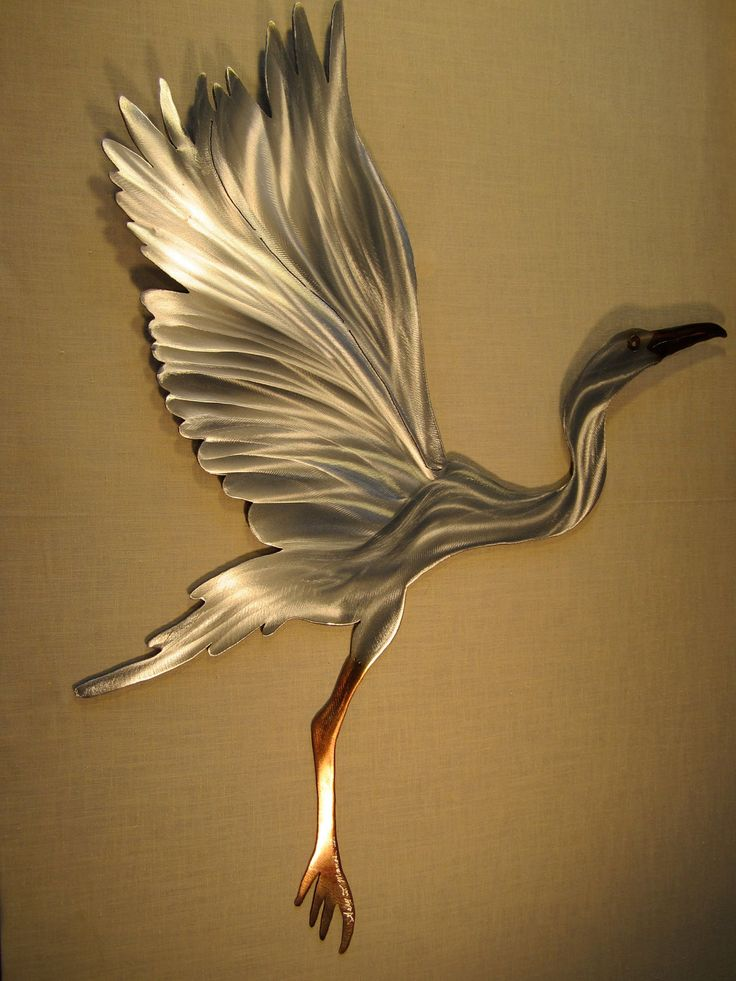 Snowy Egret Heron Crane Coastal Steel Decor Marine Marsh Wetlands Ocean Lake River Metal Cottage Home Wall Art. $125.00, via Etsy.