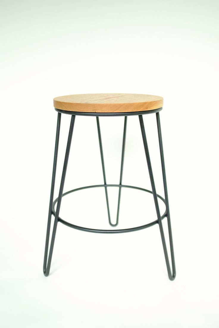 Hairpin Leg Stool 18 Quot Tall White Oak And Steel Hand
