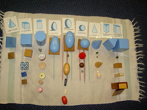 It's Montessori Monday! Inexpensive and DIY Geometric Solids and Extensions (Photo from http://inspiredmontessori.blogspot.com/2011/09/geometric-solids-objects.html Roundup post from http://livingmontessorinow.com/2012/03/26/montessori-monday-inexpensive-and-diy-geometric-solids-and-extensions/)