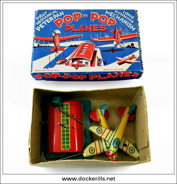 Pop-Pop Planes, PETER PAN, Great Britain. (Picture 1 of 3). Vintage Tin Litho Tin Plate Toy. Clockwork / Wind-Up. Action - Carousel toy.  Photo in DOCKERILLS - TIN TOY REFERENCE - GREAT BRITAIN - Google Photos
