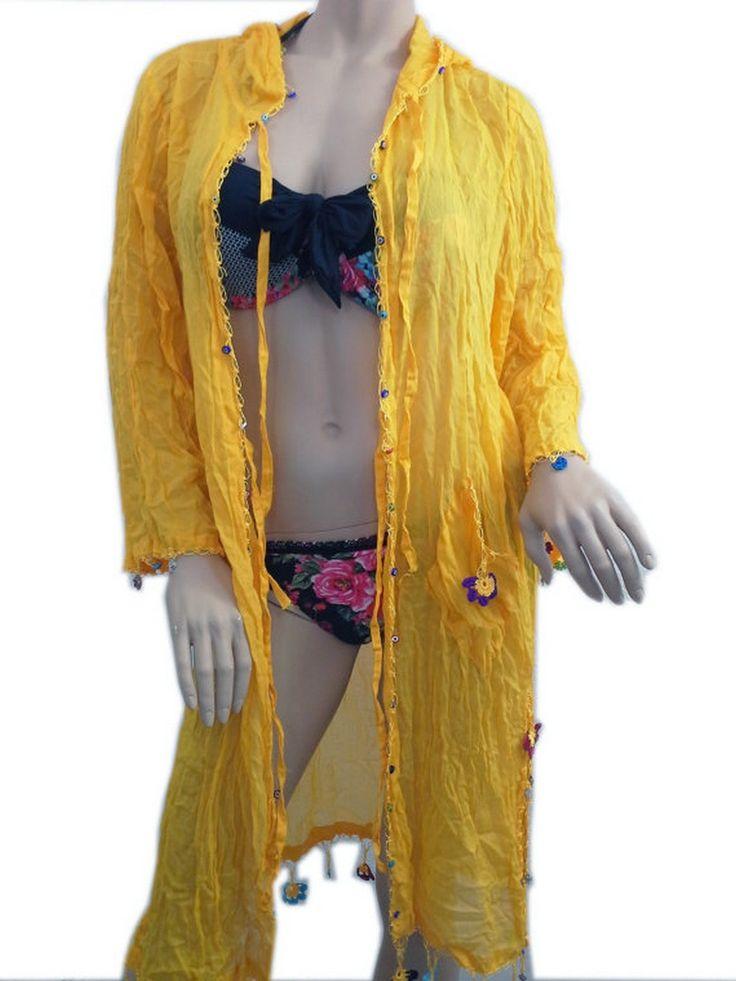 COTTON Kimono Hoodie Turquoise Beach Dress Swimsuit Cover Up Dress  www.scarfclub.net