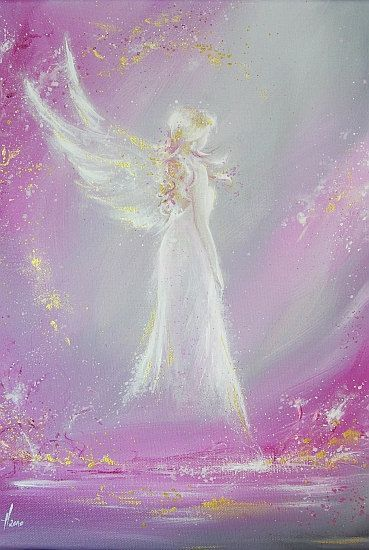 """Limited angel art poster """"Met in dream"""", modern contemporary angel painting, artwork, print, glossy photo,"""