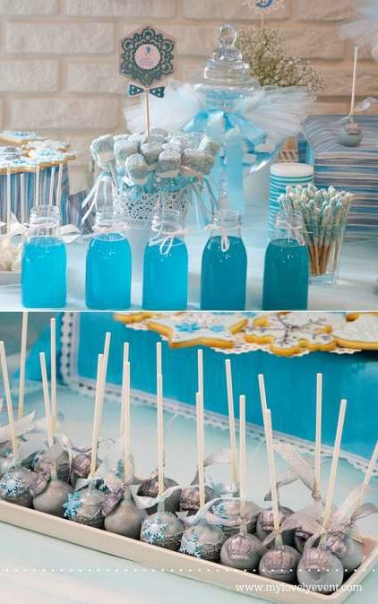 Frozen birthday party blue drinks and treats! See more party planning ideas at CatchMyParty.com!