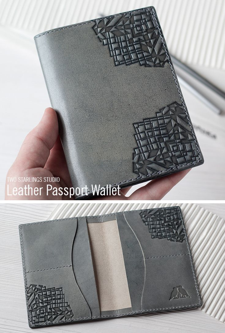 Leather Passport & Credit Card Cover, Gray Khaki Men's Passport Holder, Case for Passport, Personalized Travel Wallet for Men
