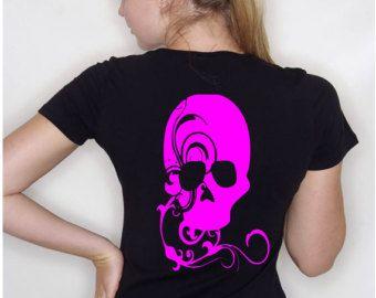 gotico t-shirt, stampa teschio, cime di halloween, emo moda di strada, ragazze sugar skull, womens fiore cranio, camicia fiore, fiore cranio