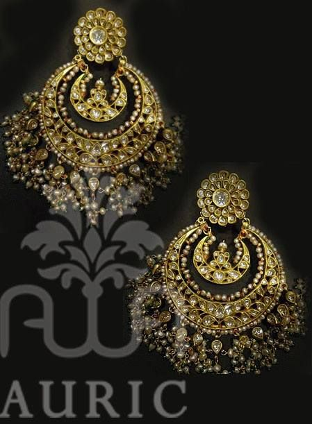 Jadau kundan earrings -- The beautiful designed glittery earring. Match it up with zari work saree & indianwear!