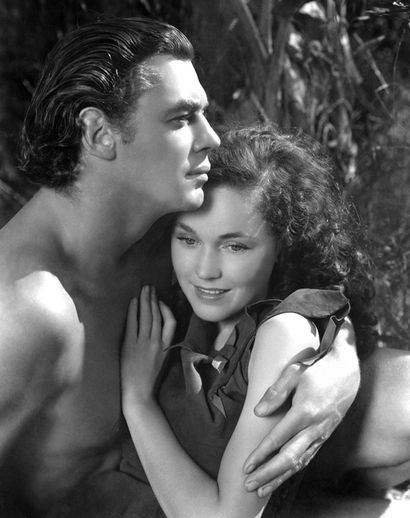 Weissmuller and O'Sullivan in Tarzan Escapes (I don't know how they escaped - I would watch the Tarzan movies on the Early Show as a kid and just when everyone ..Tarzan, Jane and Boy... is in peril, my mom would tickle me and not let up until everyone was swinging through the trees into the sunset).