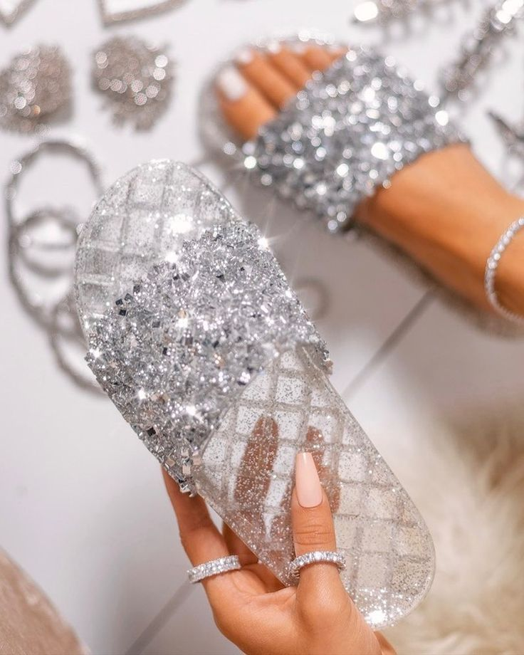 Open Toe Glitter Studded Flat Sandals