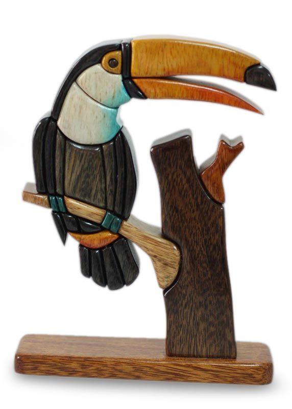 Handcrafted wood bird sculpture amazon toucan novica
