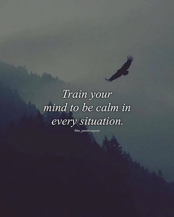 Train your mind to be calm..