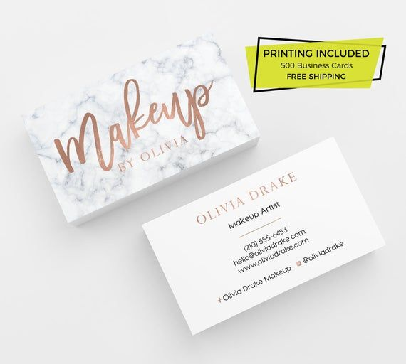 Marble Rose Gold Makeup Business Cards 500 Business Cards Etsy Makeup Business Cards Printing Business Cards Gold Business Card