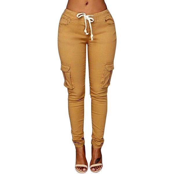 Womens Casual Plain Drawstring Waist Pockets Pants Khaki ($20) ❤ liked on Polyvore featuring pants, bottoms, jeans, joggers, khaki, drawstring waist pants, brown pants, khaki trousers, brown trousers and jogger pants