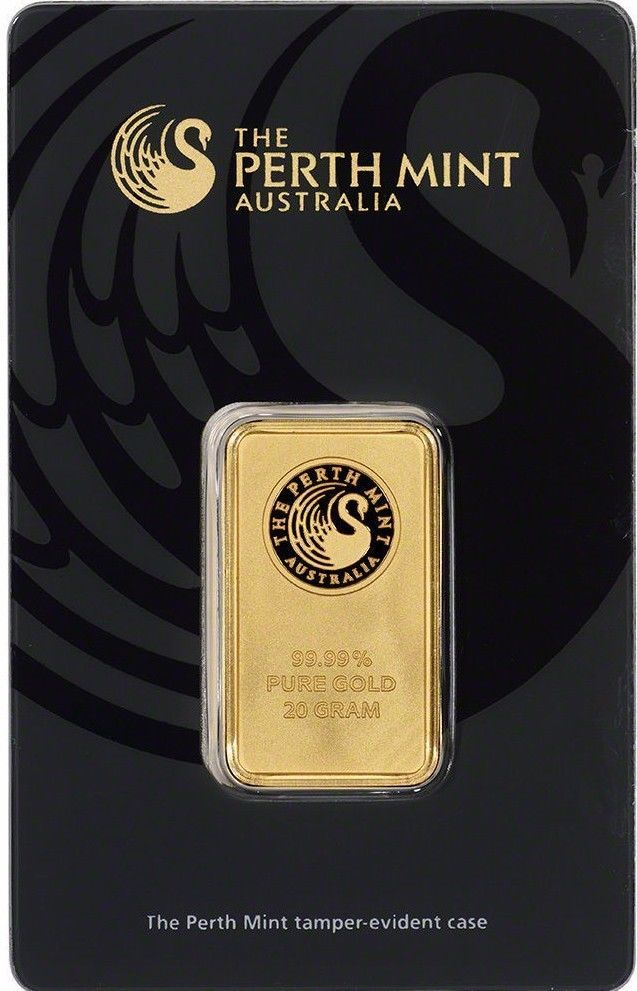 new post perth mint 20 gram 9999 gold bar new sealed with