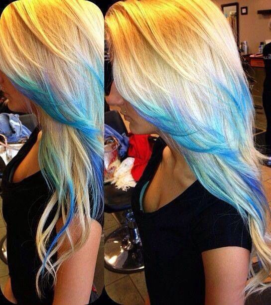 Cool blue and purple hair color - tips ombré highlight