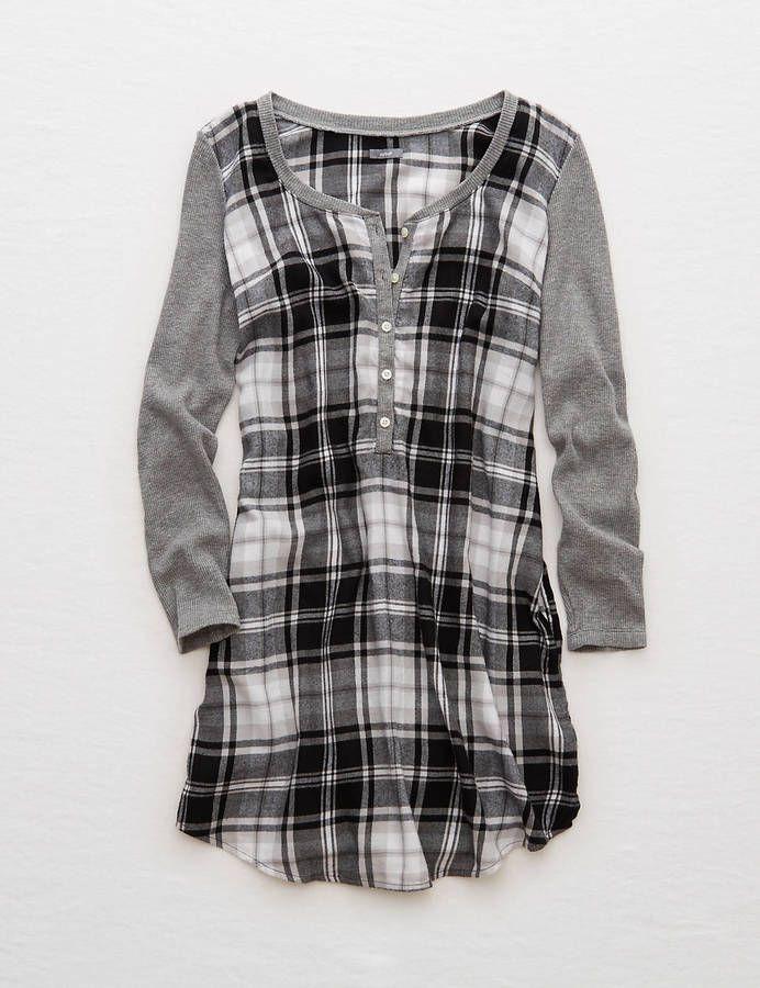 Aerie Flannel Shirt Nightie