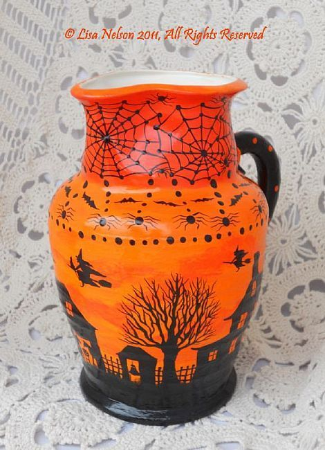 Original Hand Painted OOAK Halloween Pottery Pitcher