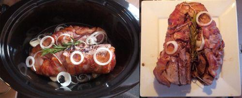 Bacon Wrapped Beef Tenderloin in the Crockpot
