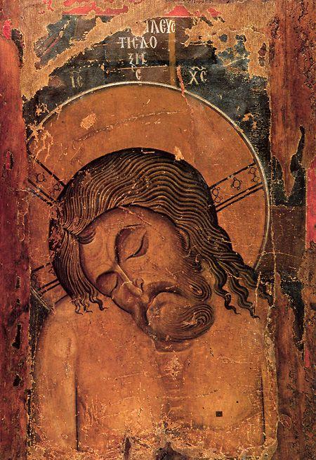 Greek Icon, Man of Sorrows, 12th c., Kastoria Cathedral, Greece.