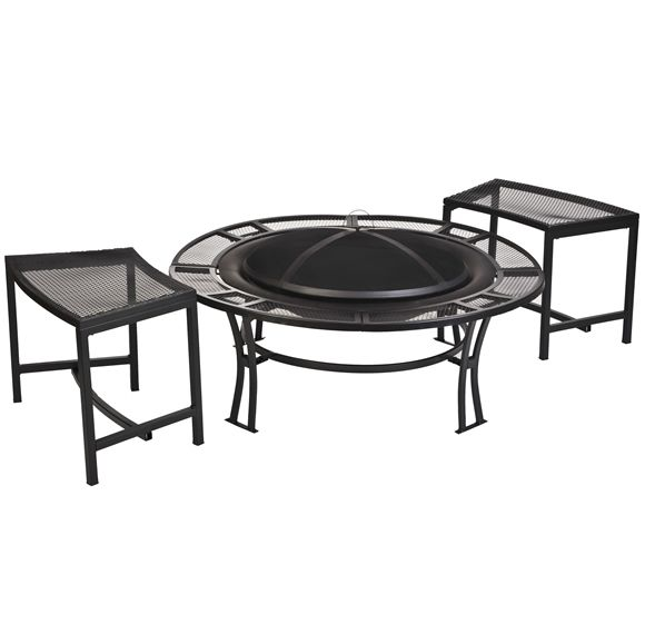 This attractive steel mesh fire pit bowl includes 2 matching single benches for a cozy get-together.