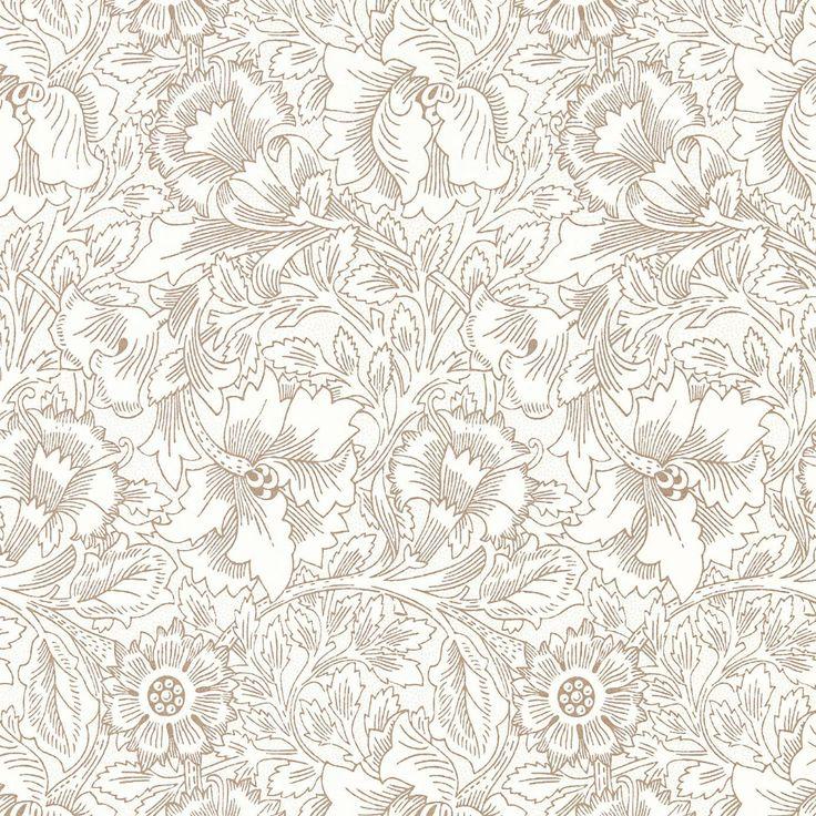 William Morris & Co Pure Poppy Wallpaper Cream/Gold