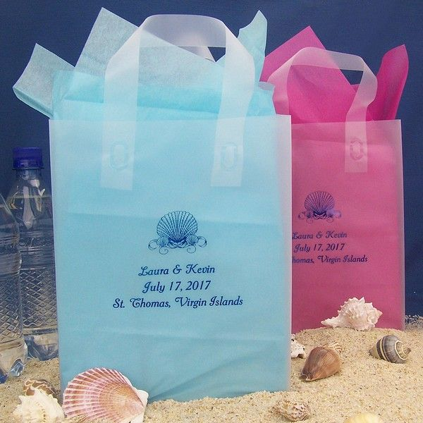 Personalized 8 5 10 frosted poly wedding gift bags with handles ...