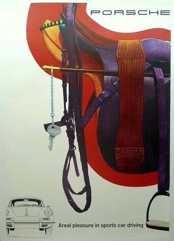 A Porsche dealership poster, 356 & Saddle,