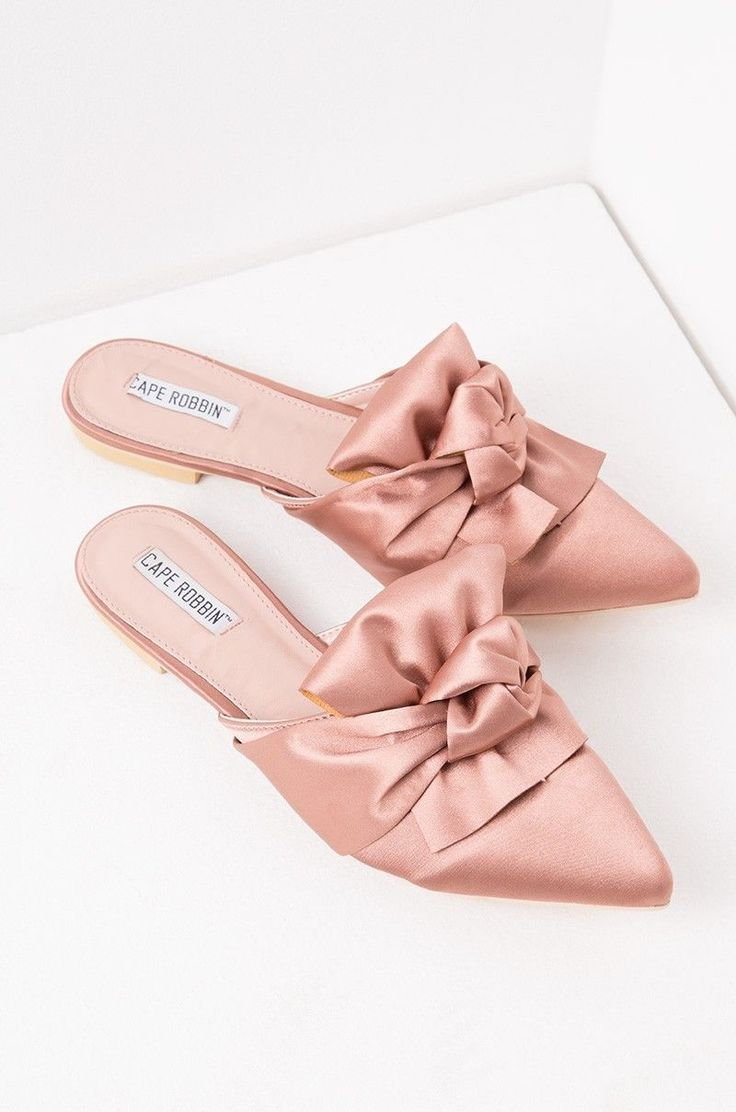 2a97aada2022 Cape Robbin Fine-8 Slip On Pointed Toe Satin Bow Pink Flat Mule Designer  Slides