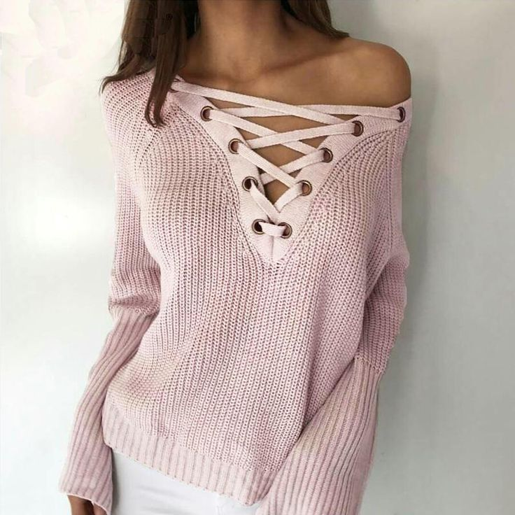 Smoves herfst winter flare mouw gebreide vrouwen trui lace up v-hals trui truien casual losse knitwear trui nieuwe sw158