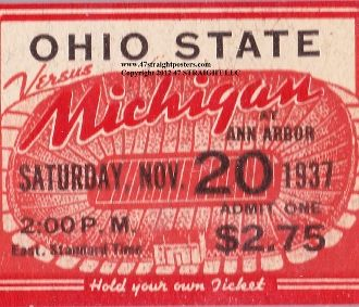Best football gifts! Ceramic Drink Coasters, Michigan football coasters, Ohio State coasters made from vintage football tickets.