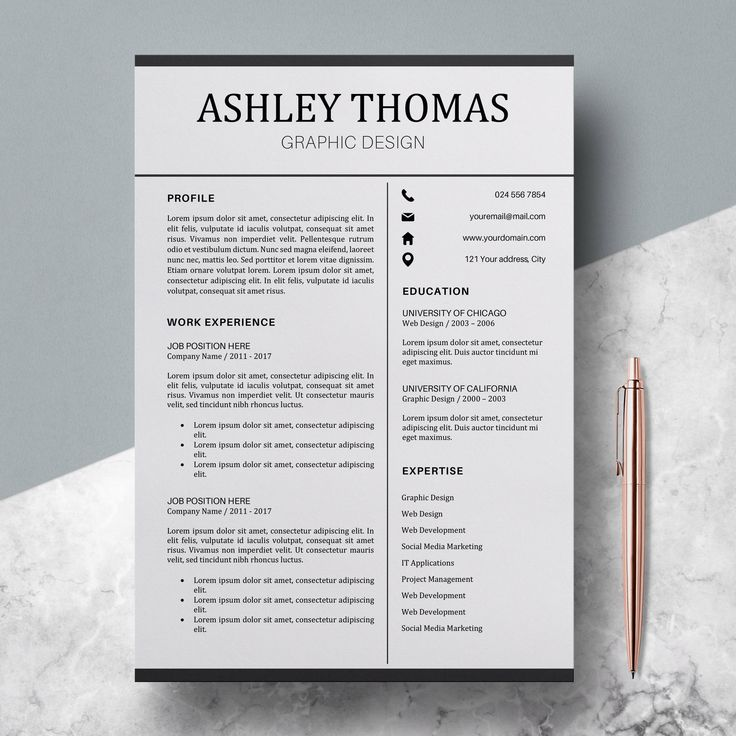 "Professional Resume Template - CV Template Word 3 pages + Cover Letter - Resume Instant Download Word - ""Ashley"""
