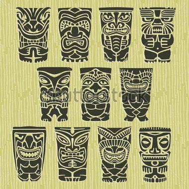 vintage-carved-polynesian-tiki-totem-vector-idol-masks_112704445.jpg (380×380)