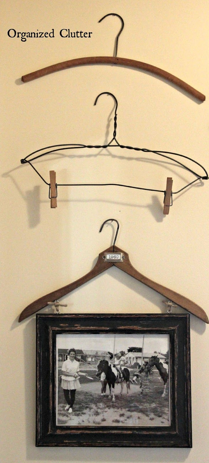 Vintage Clothes Hangers As Wall Decor www.organizedclutter.net